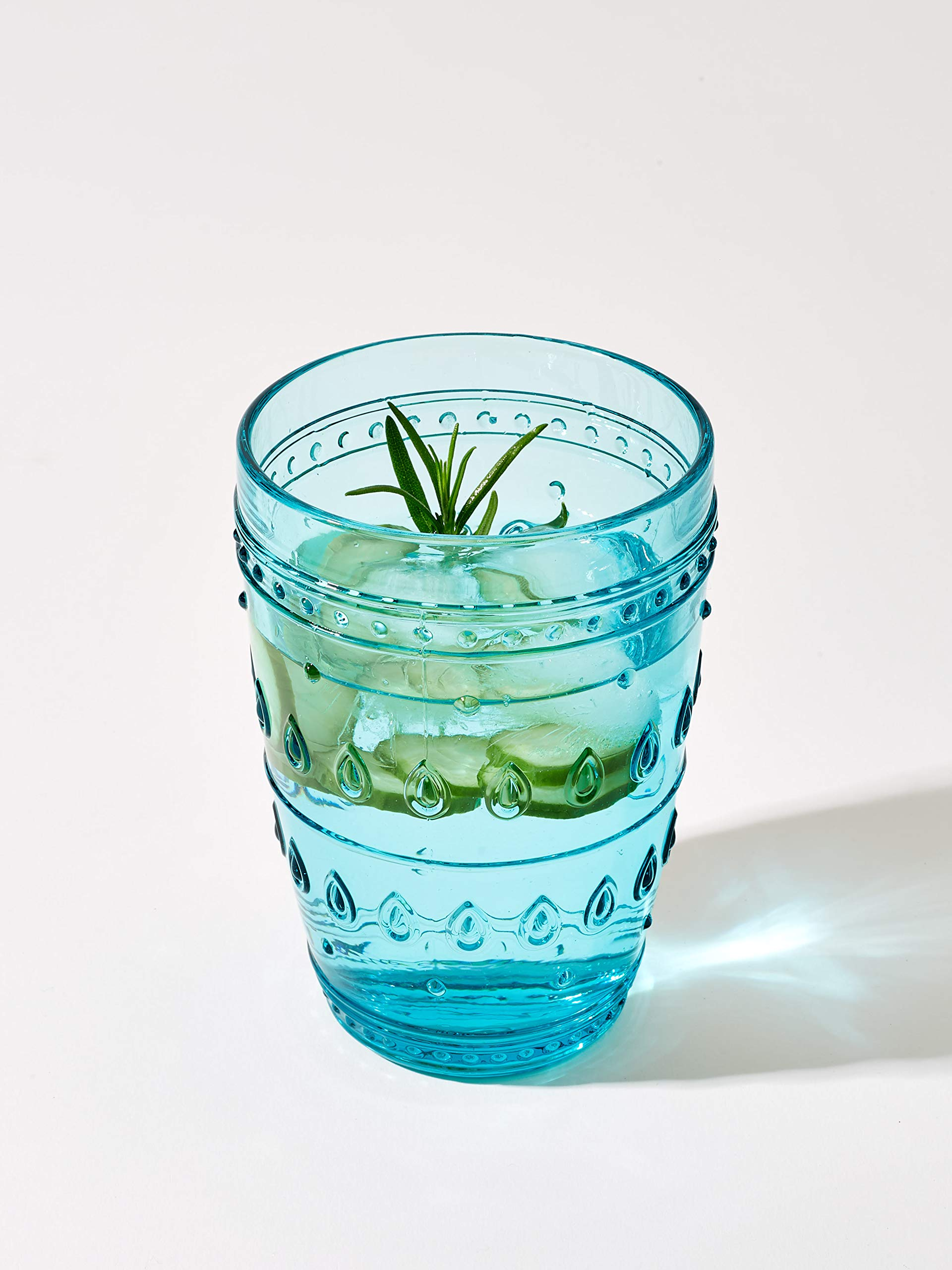 Euro Ceramica Fez Glassware Collection Highball Glasses, 14oz, Set of 4, Turquoise