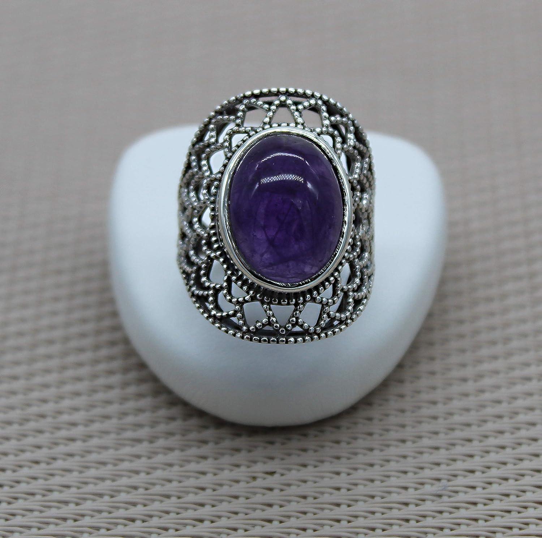 Anillo de plata amatista. Bohemia Chic Anillo de plata Piedra preciosa semipreciosa Violeta.