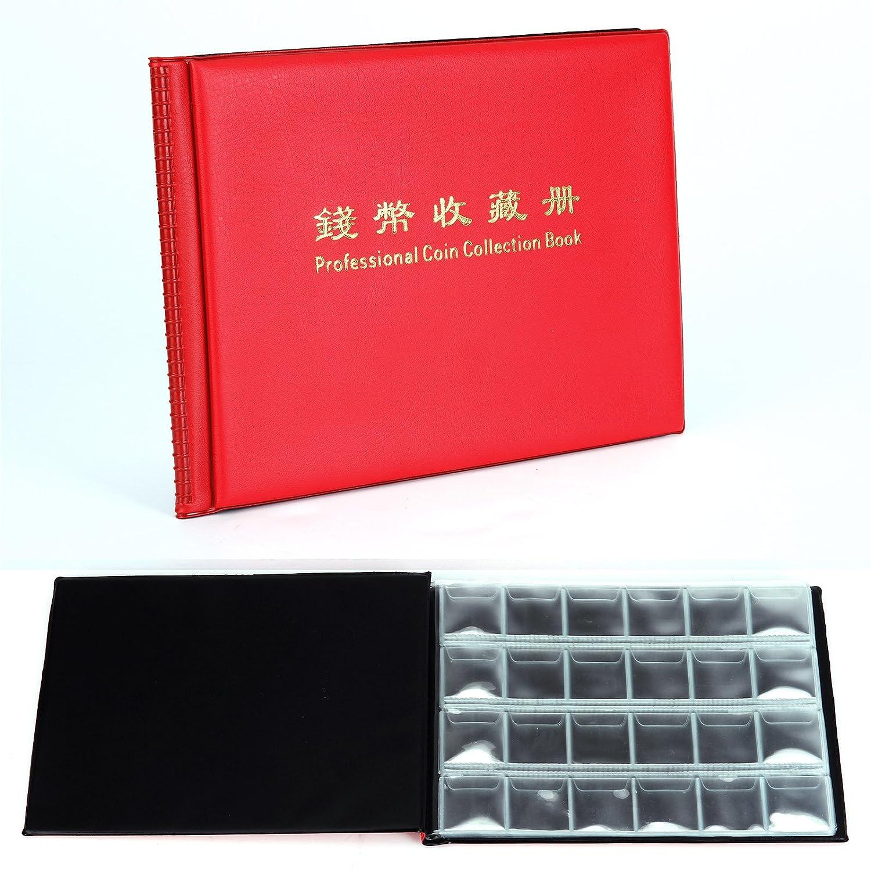 Rot 240/Coin Collection Halter Aufbewahrung Geld zu sammeln Penny Taschen Album Buch