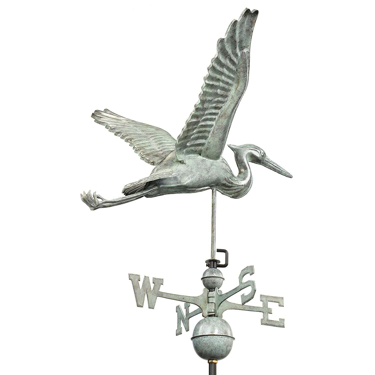 Blue Verde Copper Patina Good Directions Blue Heron Weathervane