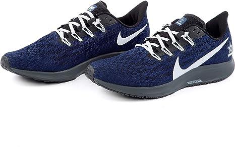 Dallas Cowboys Nike Air Zoom Pegasus 36 Tenis para Correr para Hombre, 9.5, Negro, Gris, Azul Marino, (Navy/Gray/Black): Amazon.es: Deportes y aire libre