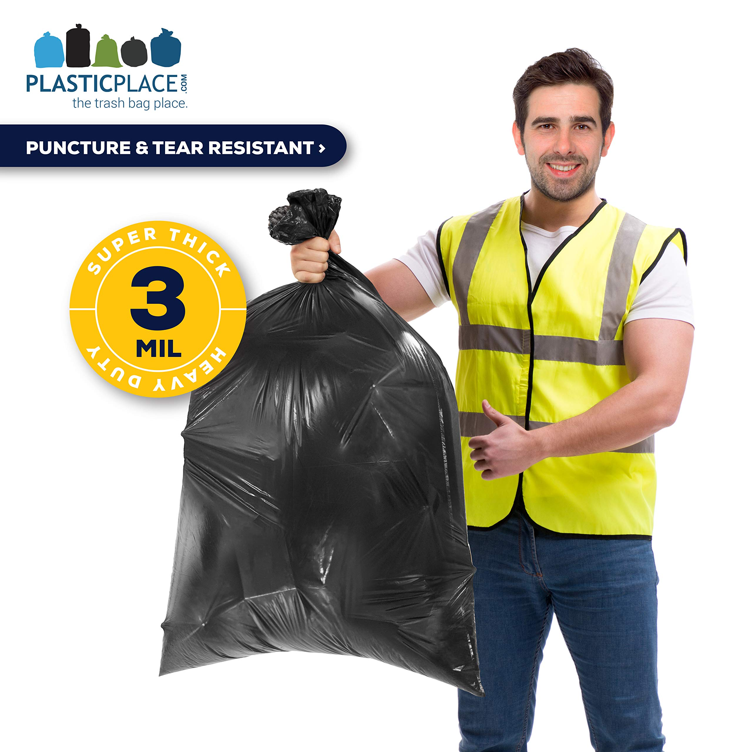 Plasticplace Contractor Trash Bags 55-60 Gallon │ 3.0 Mil │ Black Heavy Duty Garbage Bag │ 38'' x 58'' (50 Count) by Plasticplace (Image #3)