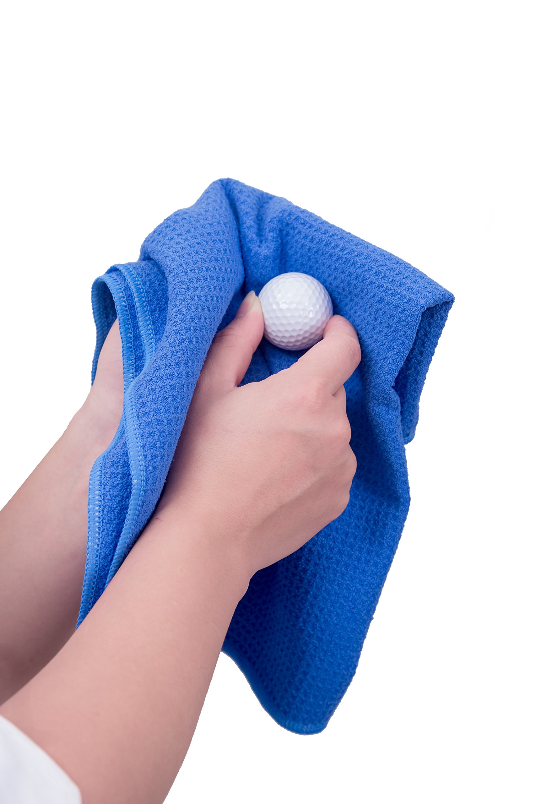 Microfiber Deep Waffle Weave Golf Towel 2 pack,Light Weight & Quick Drying. Best for Cleaning all types of Clubs, Irons & Drivers.(Blue & Gray 16''x21'') by DVlente (Image #5)