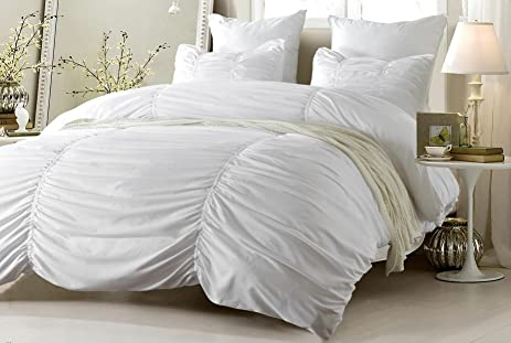 3pc Ruched Design White Duvet Cover Set Style # 1005   King/California King