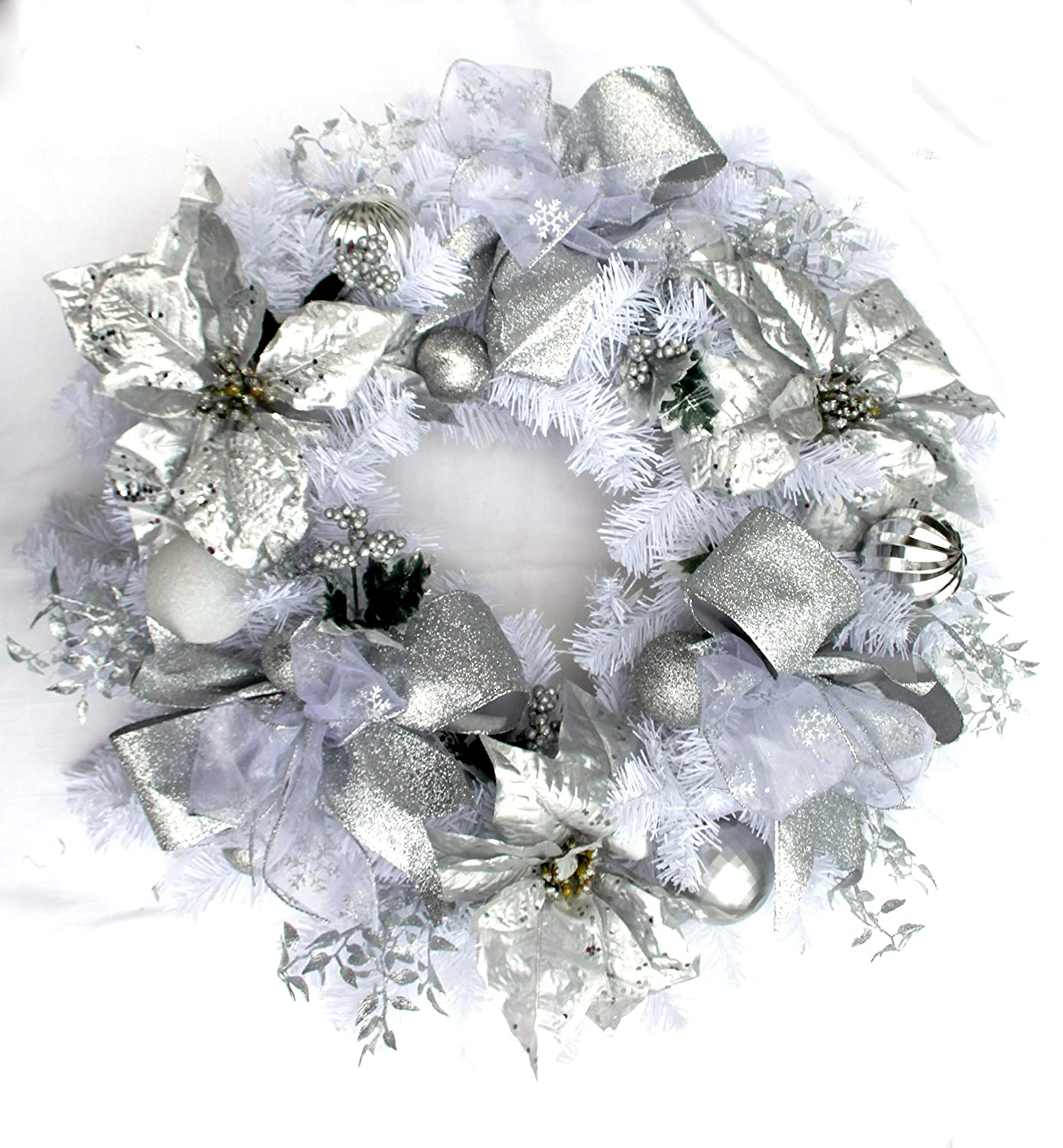 the latest 6cf62 25df1 Large silver and white Christmas wreath for front door winter