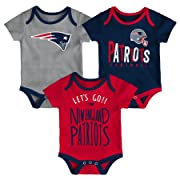 NFL by Outerstuff NFL New England Patriots Newborn & Infant Little Tailgater Short Sleeve Bodysuit Set Dark Navy, 6-9 Months