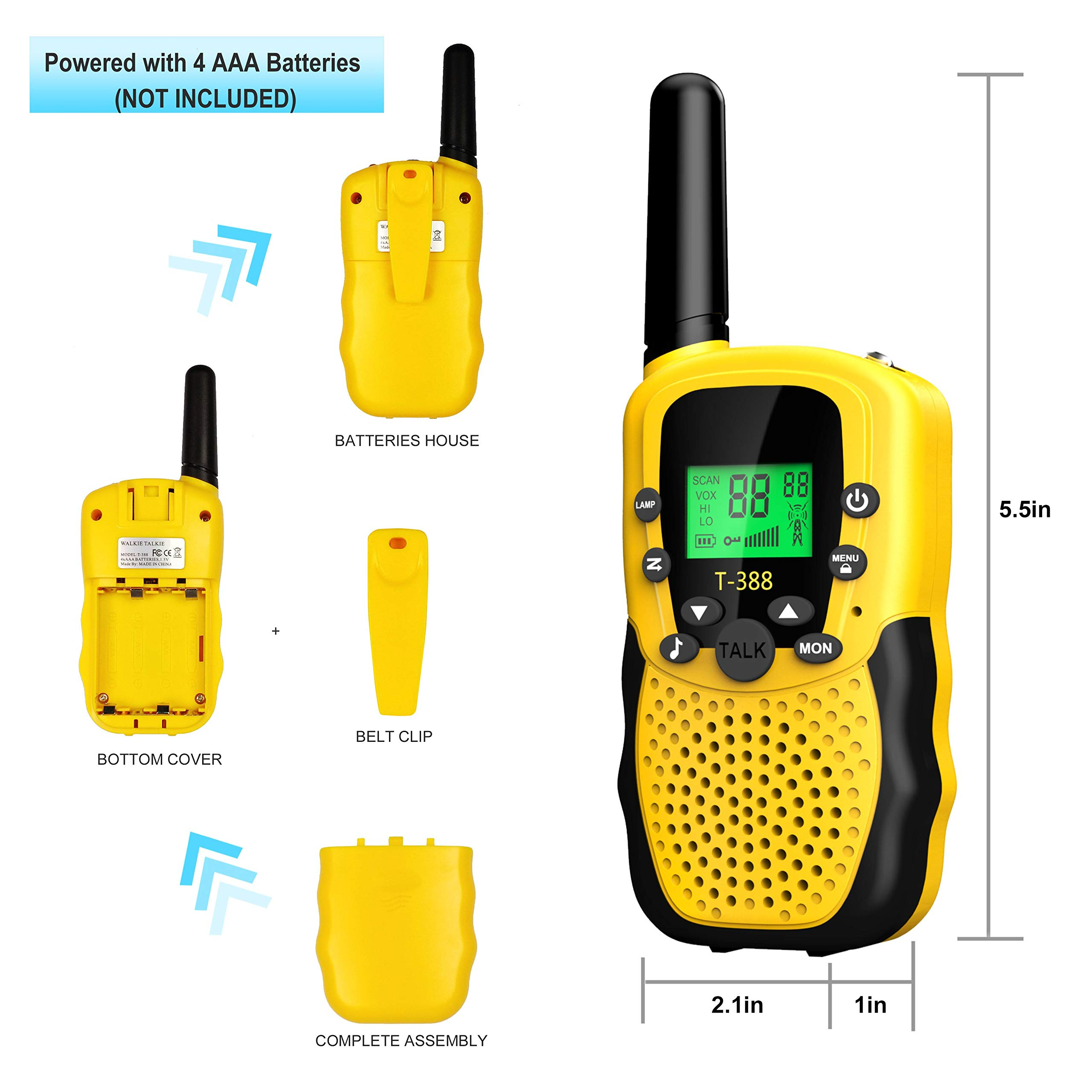 Walkies Talkies for Kids, 22 Channels FRS/GMRS UHF Two Way Radios 4 Miles Handheld Mini Kids Walkie Talkies for Kids Best Gifts Kids Toys Built in Flashlight by JimBest1970 (Image #3)