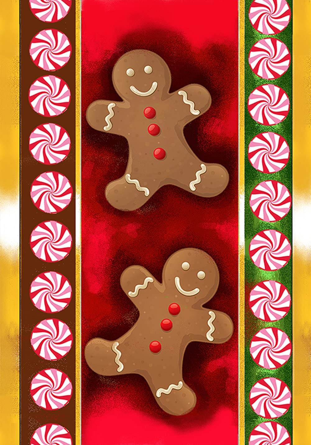 Toland Home Garden Gingerbread Men 12.5 x 18 Inch Decorative Colorful Christmas Cookie Peppermint Garden Flag