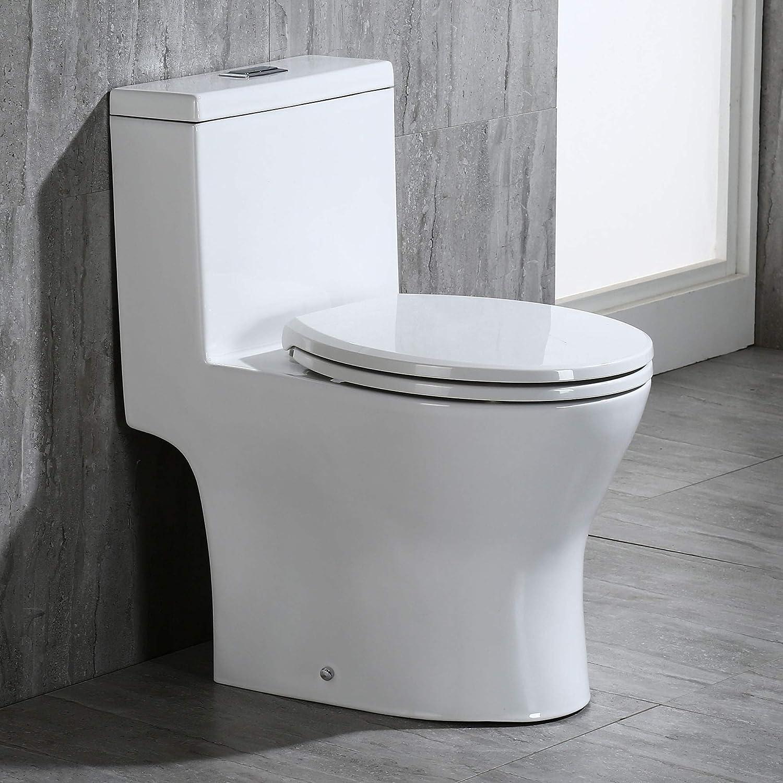 Woodbridge B 0500 High One Piece Short Compact Bathroom Tiny Mini Commode Water Closet Dual Flush Concealed Trapway B0500 Toilet White Amazon Com
