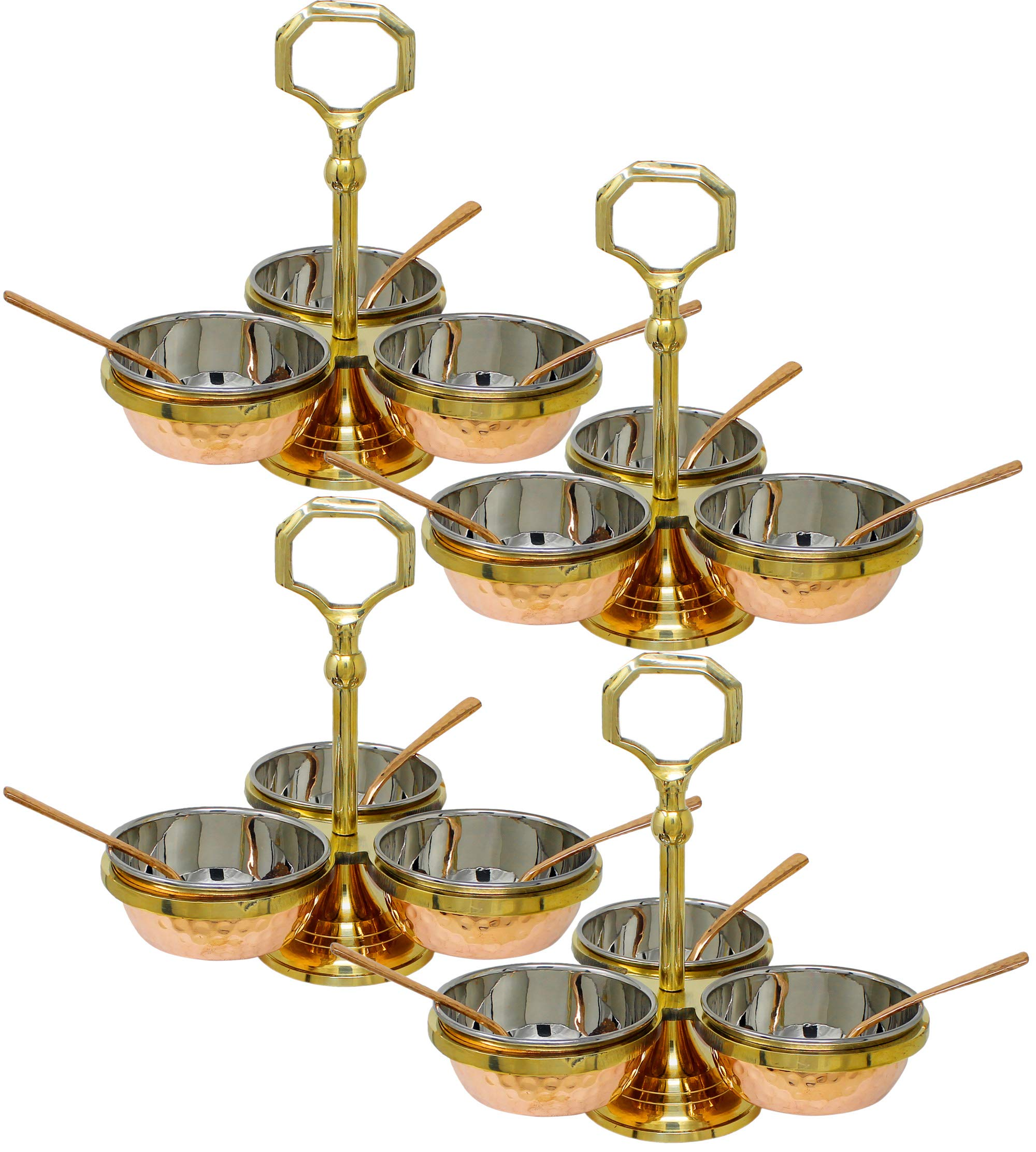 Set of 4, Condiment Dish Rack 3 Bowl Set - Stainless Steel Copper Pickle Set - Condiments, Nuts, Ice Cream, Snacks, Candy Serving Bowls