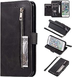 EYZUTAK Wallet Case for iPhone 8 Plus iPhone 7 Plus, 5 Card Slots Magnetic Closure Zipper Pocket Handbag PU Leather Flip Case with Wrist Strap TPU Kickstand Cover for iPhone 8 Plus iPhone 7 Plus-Black