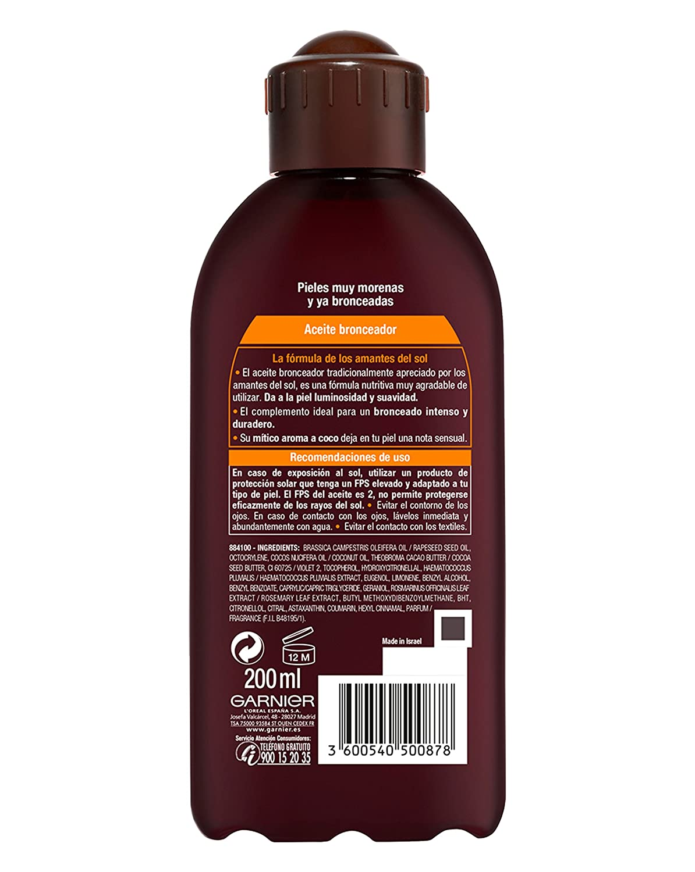 Garnier Delial Aceite Bronceador Intenso Nutritivo Hidratante con Aroma a Coco - 200 ml