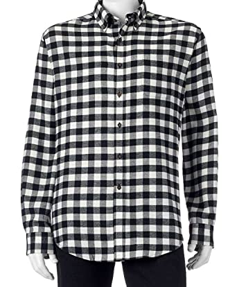 b9768b991565e6 Croft & Barrow Mens Classic Fit Flannel Shirt Black White Check (XL (X-