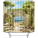 LB Summer Backyard Seaside City Shower Curtain Set For Bathroom Garden Scene House Decor