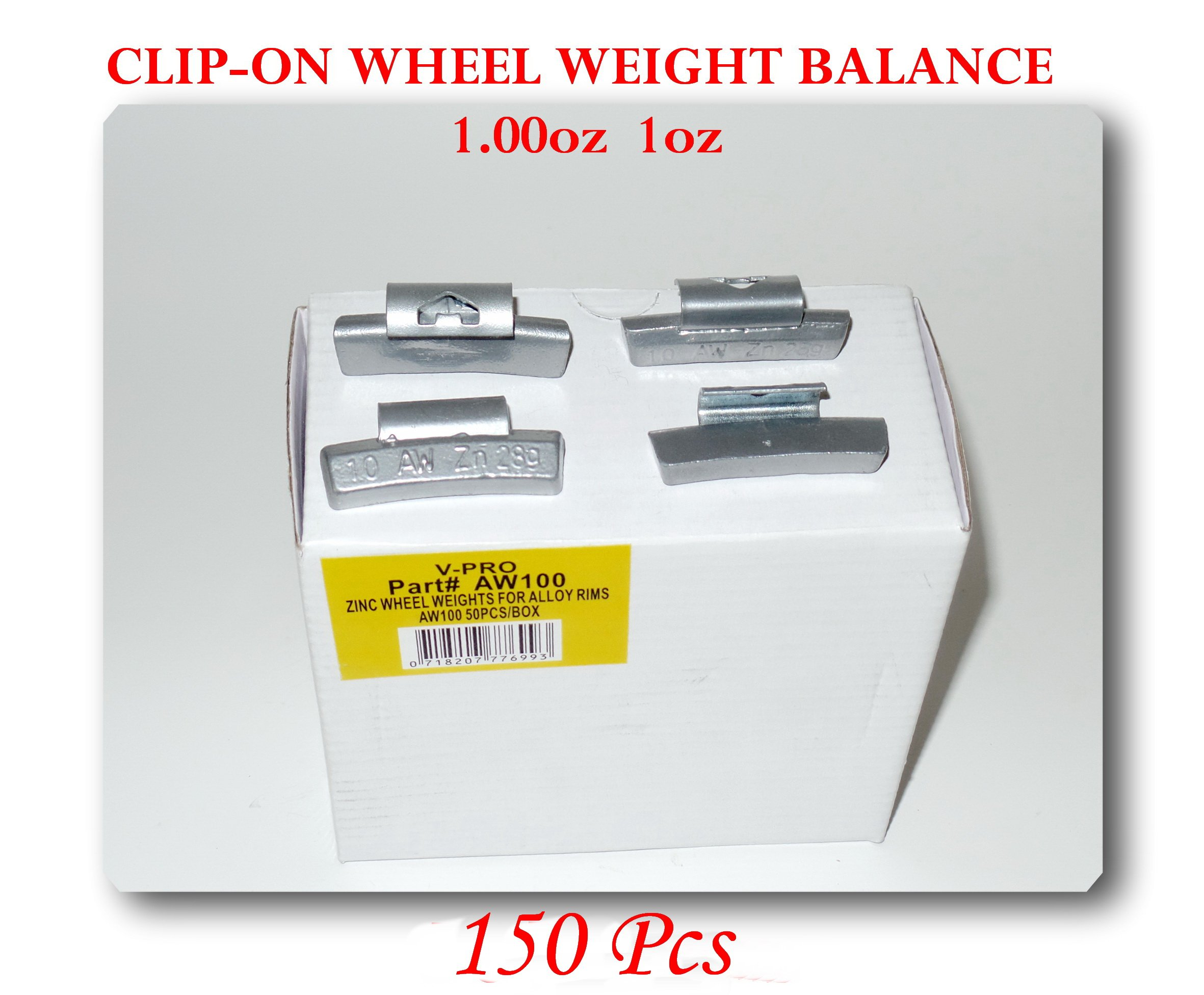 150 Pcs Zn Clip-on Wheel Weight Balance 1oz 1oz Aw1.00oz (Use for All Types of Alloy wheels On Passenger Cars , Trucks , Vans & Motorcycles)