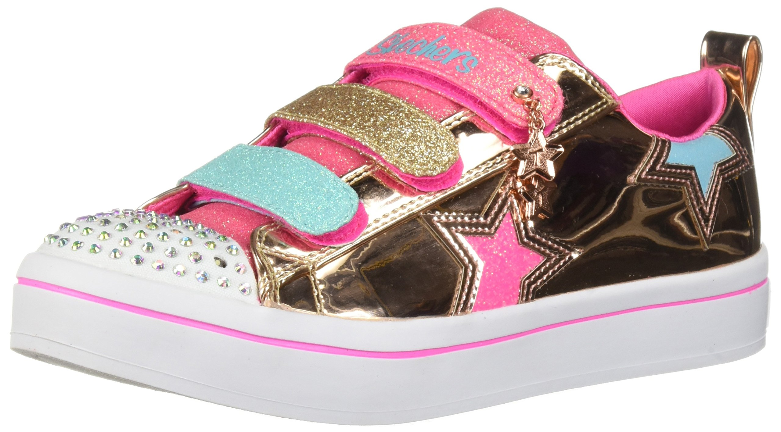 Skechers Kids Girls' TWI-Lites-Twinkle Starz Sneaker, Rose Gold, 13 Medium US Little Kid