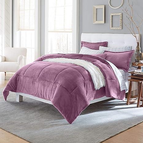 Amazon Com Brylanehome Microfleece Comforter King Eggplant Home Kitchen