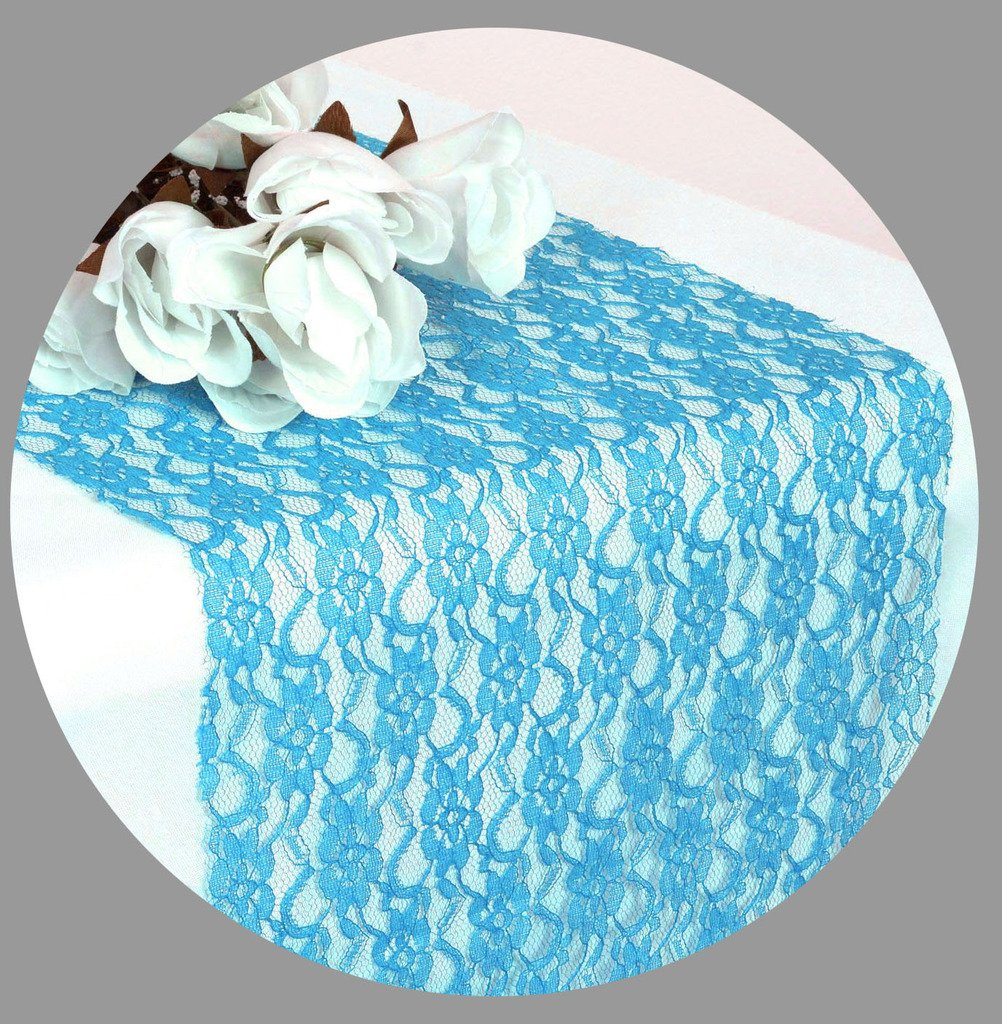 VDS set Of 10 Turquoise 12x 108 inch Lace Table Runner For Wedding Banquet Decor table runner , dresser, party supply by VDS (Image #1)