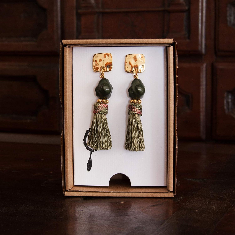 Verde Pendientes largos mujer borla fleco de seda combinado con piedra estilo boho semibarroca Cierre cuadrado /étnico Cinta de seda vintage Hecho a mano