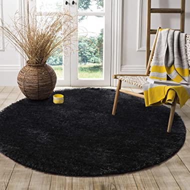 LOCHAS Round Area Rugs Super Soft Living Room Bedroom Home Shaggy Carpet 4-Feet (Black)