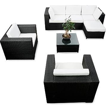 XXL Polyrattan Garten Lounge Möbel Ecksofa   Schwarz   Gartenmöbel  Sitzgruppe