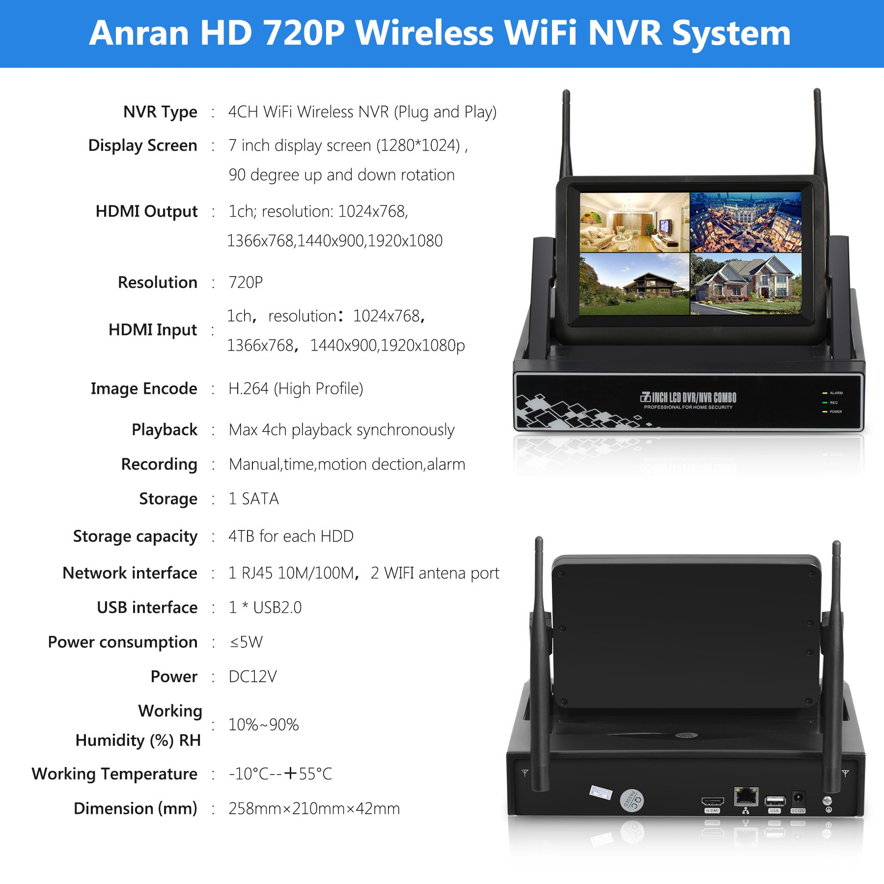 ANRAN 4CH 720P HD Wireless NVR with 7 inch Monitor Wireless ...