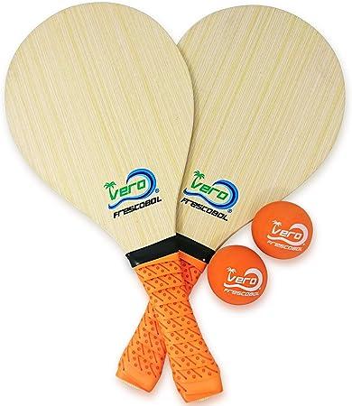 Amazon.com: Frescobol Set de 2 palas de madera vero, agarres ...