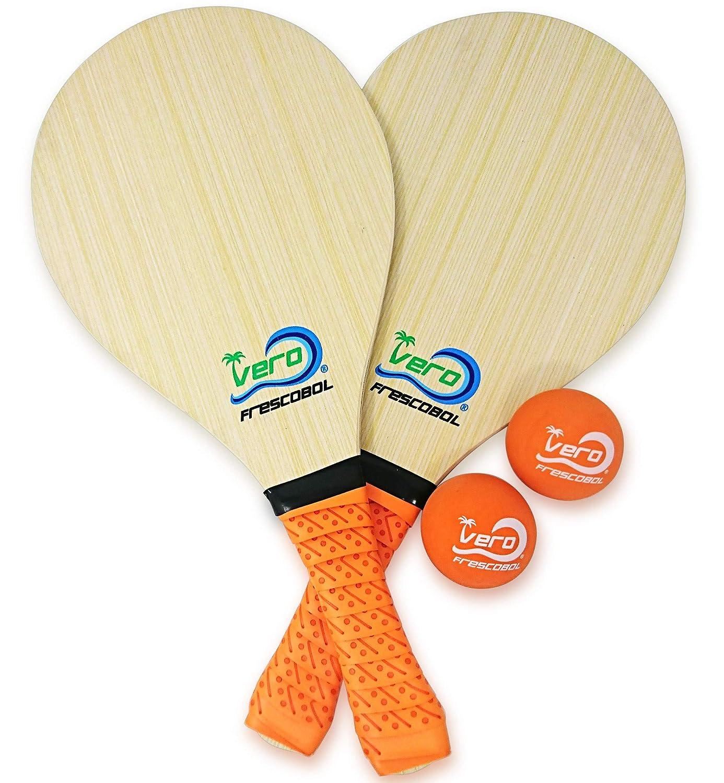 Frescobol Set, 2 Vero Wood Paddles, Premium Orange Padded Grips, 2 Official Orange Balls, Beach Tote-Bag
