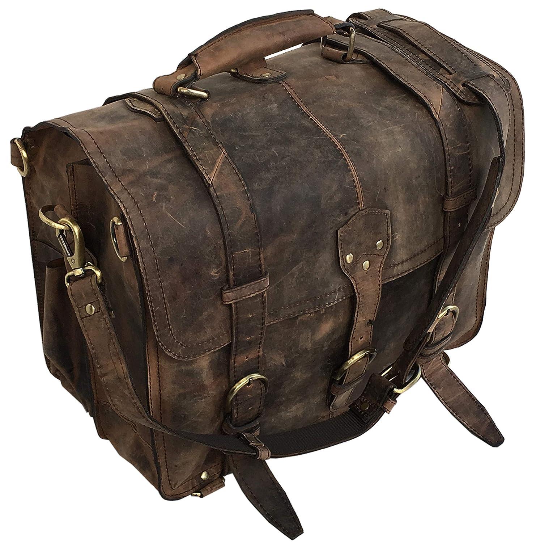 Amazon.com  Men s Full Grain Leather 16   Laptop Briefcase Shoulder  Messenger Bag for Men and Women  Computers   Accessories 7a6b8820d99e2