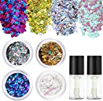 PIXNOR Holographic Chunky Body Glitter 4 Colors Cosmetic Glitters with 2pcs