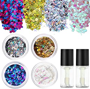 PIXNOR Holographic Chunky Body Glitter 4 Colors Cosmetic Glitters with 2pcs Long Lasting Fix Gel for Festival face,Makeup,Body,Hair,Nail and Other Occasions Decoration