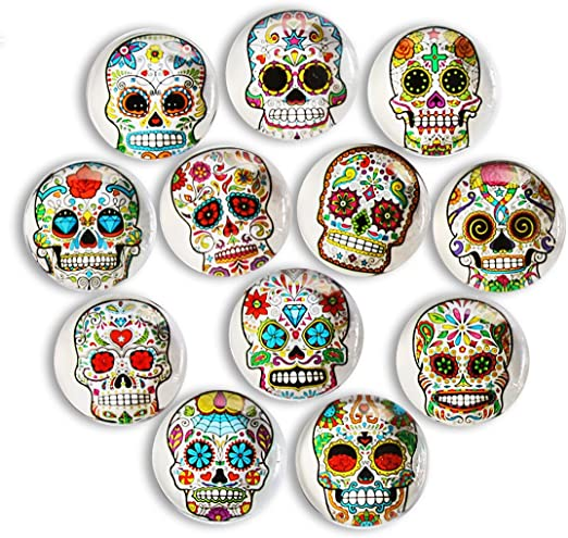Day of the Dead Skeleton Skull Head Colorful Fridge Magnet Sugar Skull Magnet