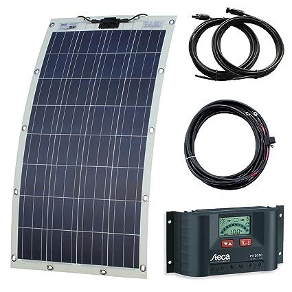 130 W – Disco semiflexible Kit de carga solar con ojales y cierres para autocaravanas,