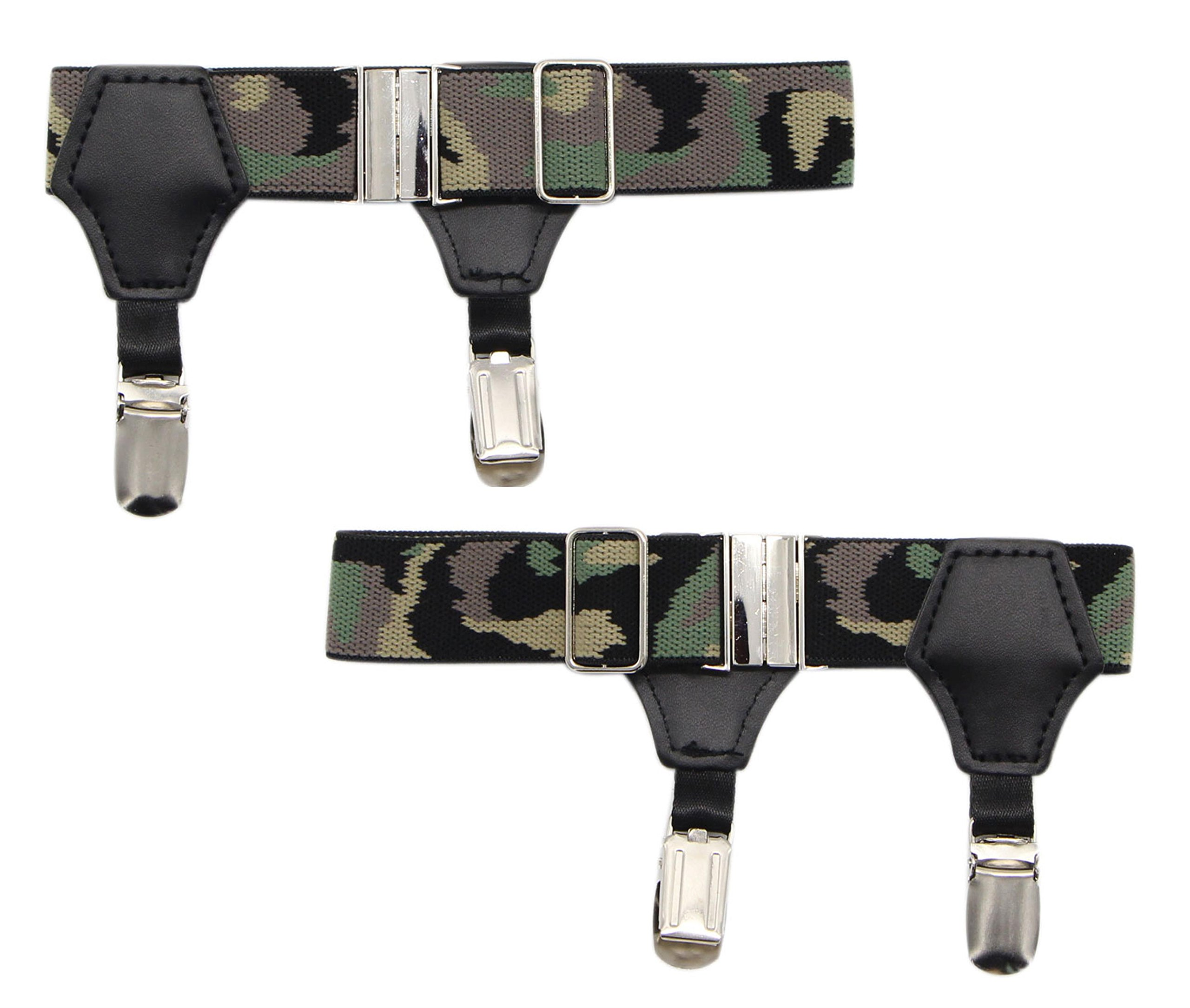 JAIFEI High - End Sock Garters - Premium 1-Pair Double Sturdy Clip Sock Suspenders For Cotton & Silk Socks- Adjustable Men's Sock Holders For Neat- Great Gift Idea (Camo)