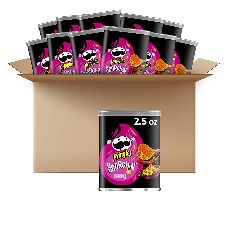 Pringles Scorchin', Potato Crisps Chips, BBQ, Snacks On the Go, 2.5oz Can(Pack of 12)