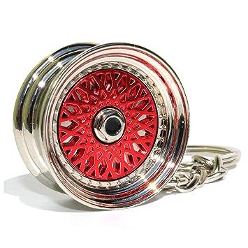 VmG-Store BBS Style Rojo Cromo Llanta llavero - macizo ...