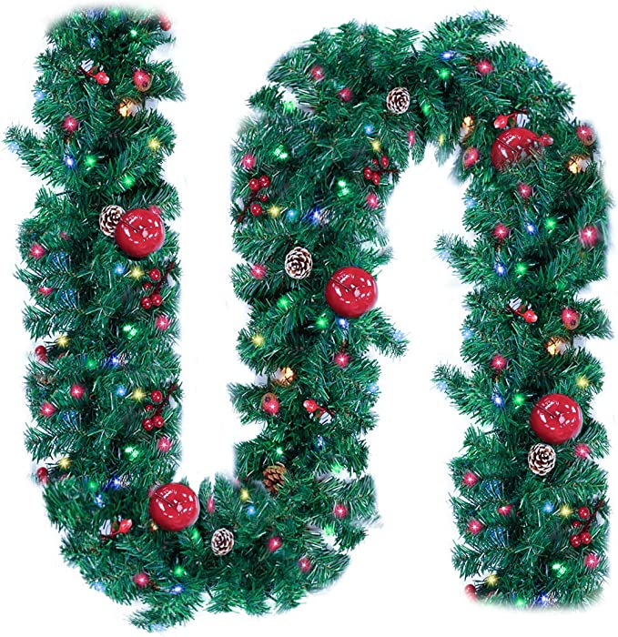 Ncknciz Christmas Garlands 9 Feet 100 LED Prelit Garland with Lights Plug in Christmas Greenery Garlands Pine Garland with Red Berry and Apple for Outdoor Indoor Mantle Fireplace Stairs Holiday Decor