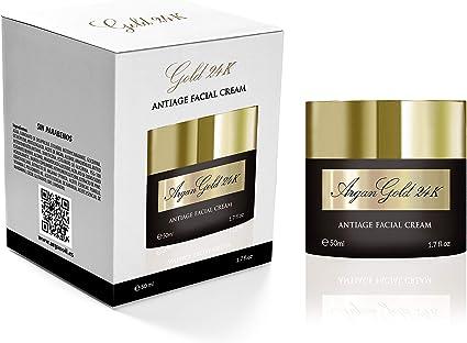 Crema Antiarrugas GOLD 24k - Crema hidratante Facial Mujer y Hombre, Fabricada en España con Oro, Vitamina C, Aceites Esenciales y Argan | Crema Correctora | Anti-imperfecciones | Día y Noche: Amazon.es: Belleza