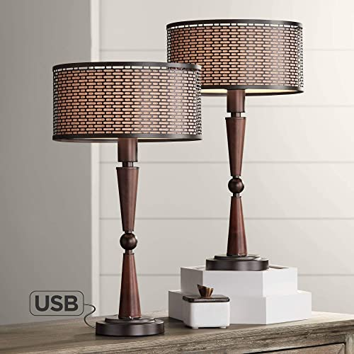 Hunter Vintage Accent Table Lamps Set of 2 with USB Port Bronze Metal Mesh Oatmeal Shade for Living Room Bedroom Bedside Nightstand Office – Franklin Iron Works