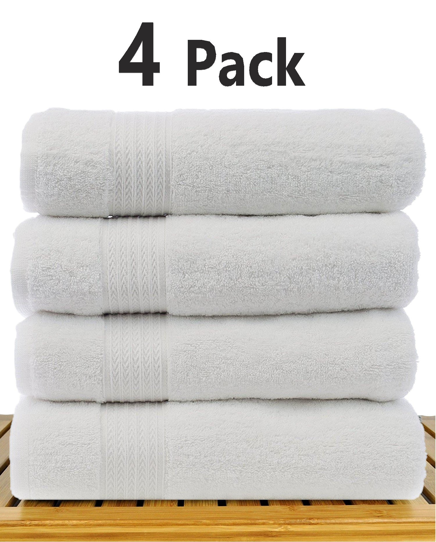 TowelPro Luxury Premium Soft 100% Cotton 700 GSM Highly Absorbent Machine Washable Multi-Purpose Hotel, Spa, Home, Bath Towels Set of 4 Extra Large 27'' X 55'' (White)