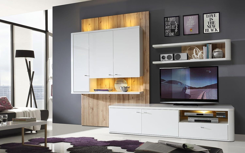 Wohnzimmer Marlow Wohnwand Inkl LED Beleuchtung By Wohnorama Jetzt Kaufen