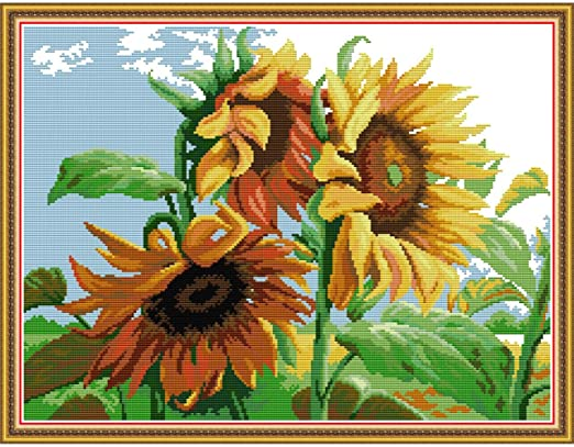 Cross Stitch Stamped Kit 14CT 16X16 Pre-Printed Embroidery Sunflower Pumpkin