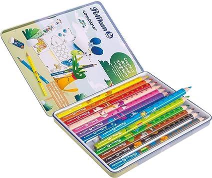 Pelikan Combino 811200 - Juego de 12 lápices de colores y 1 lápiz en estuche metálico: Amazon.es: Oficina y papelería