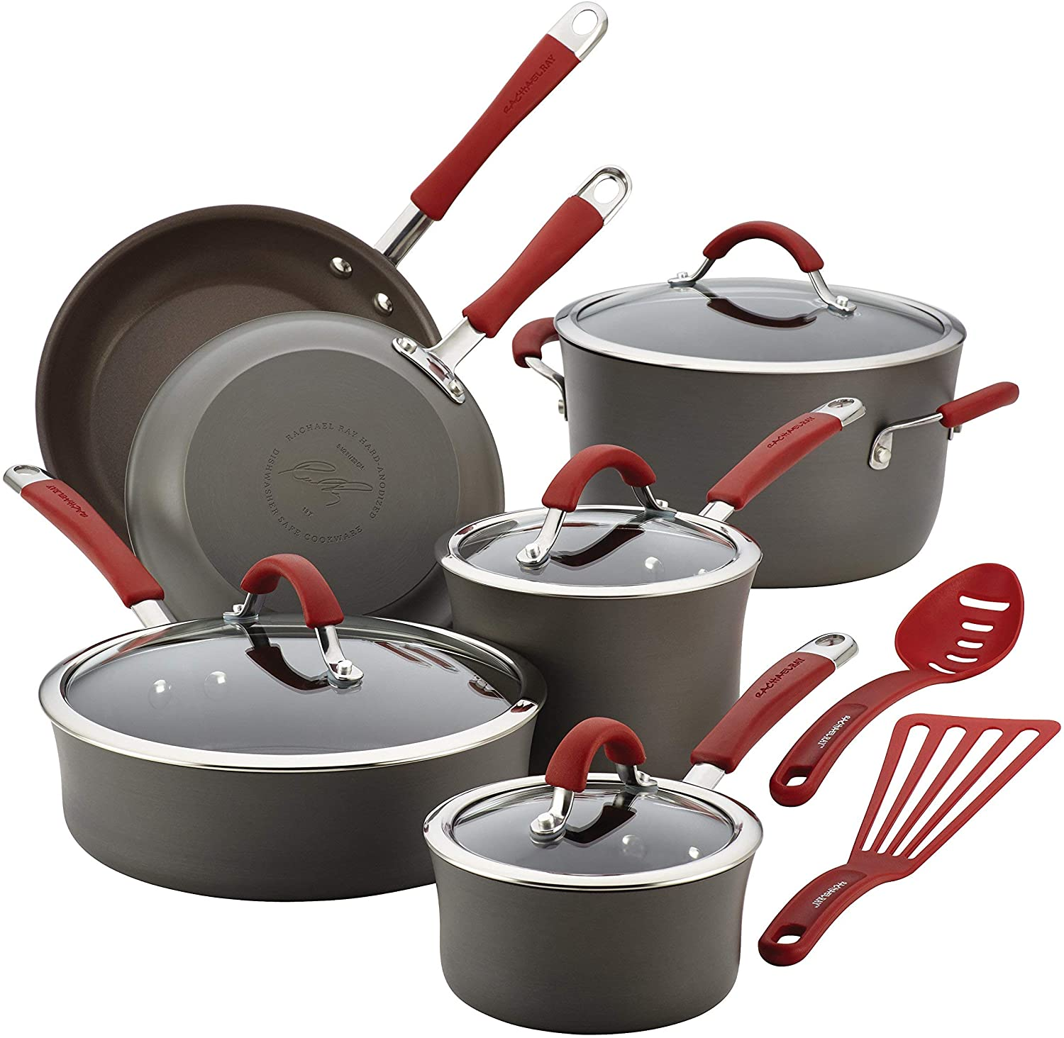 Rachael Ray Cucina Hard-Anodized Aluminum Nonstick Cookware Set, 12-Piece, Gray, Cranberry Red Handles (Renewed)