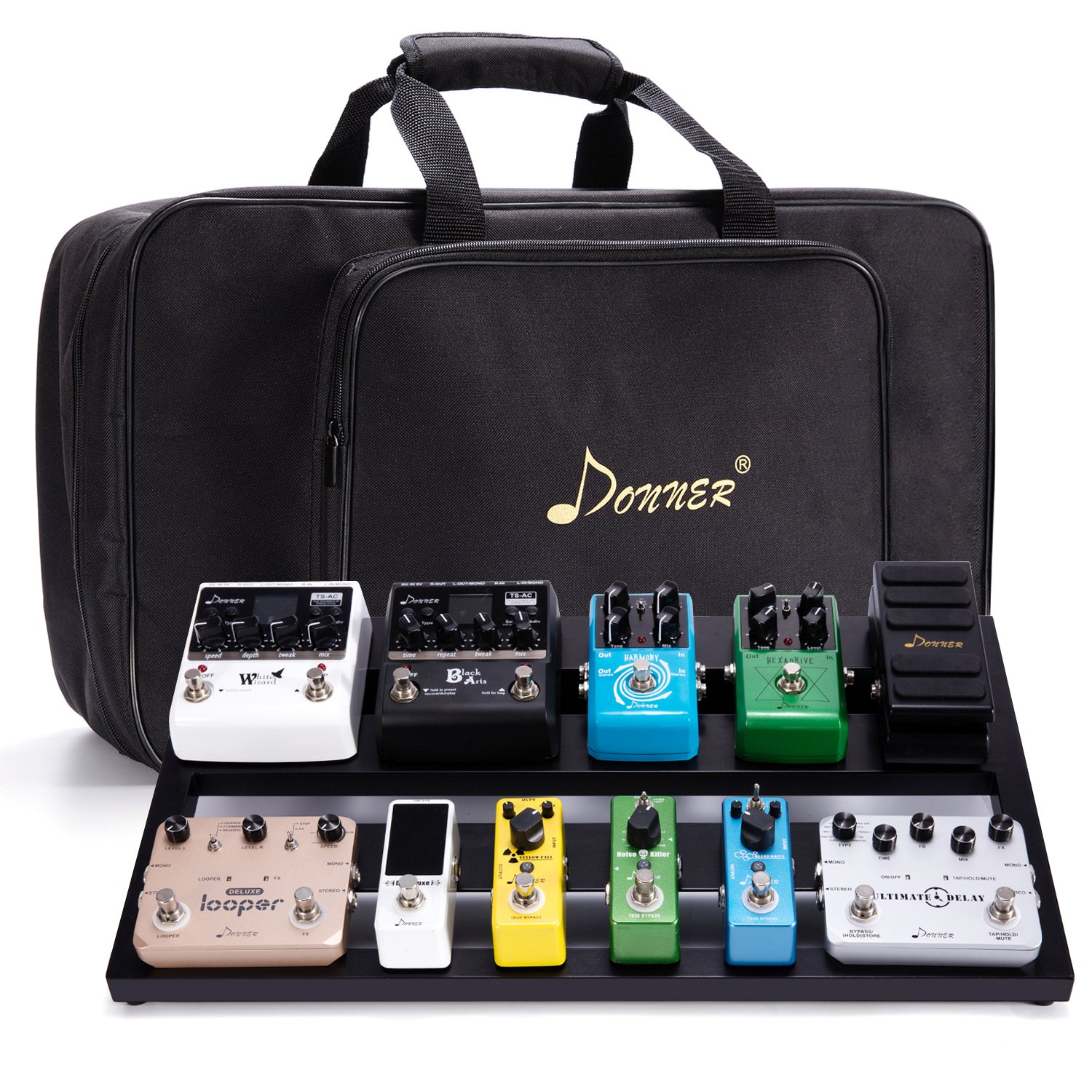 Donner Guitar Pedal Board Case DB-3 Aluminium Pedalboard 20'' x 11.4'' x 4'' with Bag by Donner (Image #1)