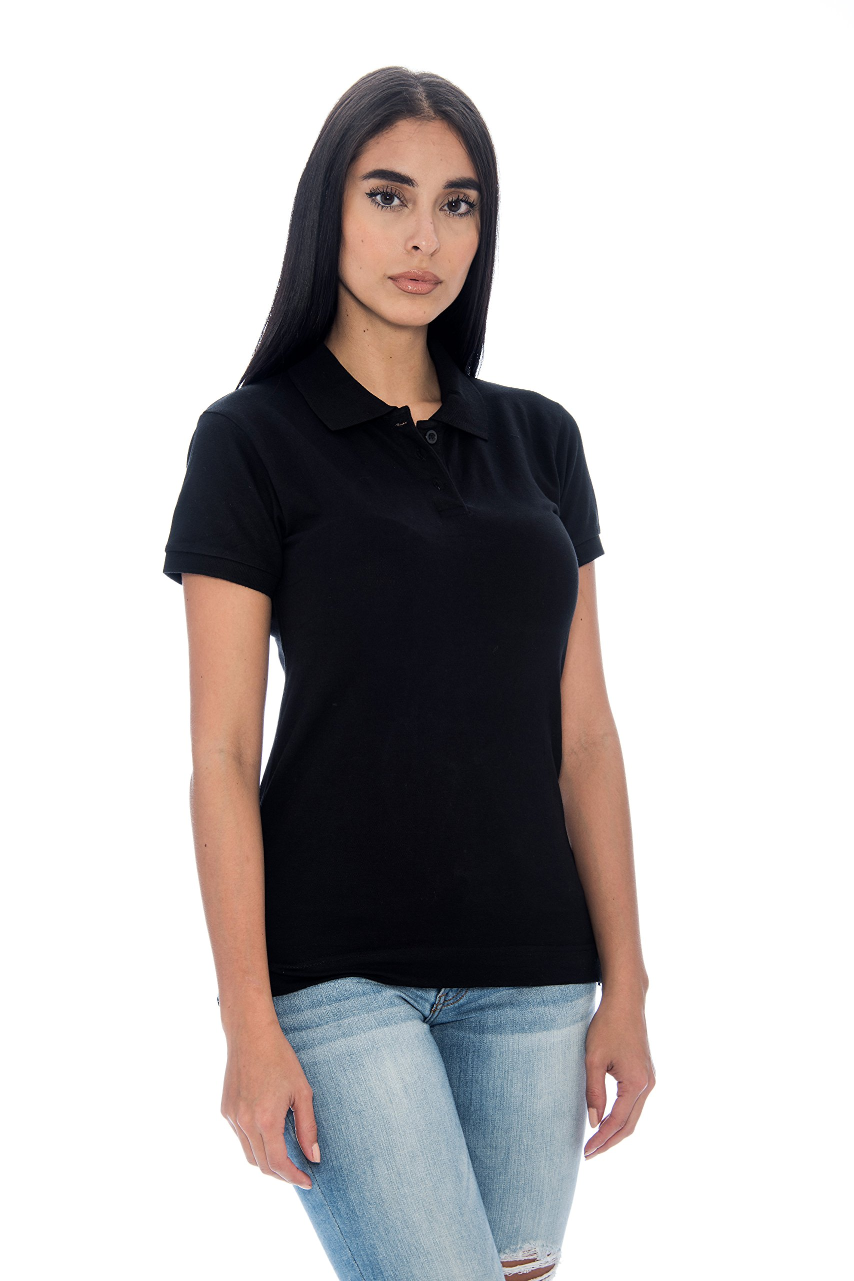 Unique Styles Girls Short Sleeve Polo Shirt 3 Button Collar Lightweight Top (Black, Large)