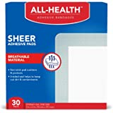 All Health Sheer Adhesive Pad Bandages, 3 in x 4 in, 30 ct | Extra Large Comfortable Protection for First Aid and Wound Care,