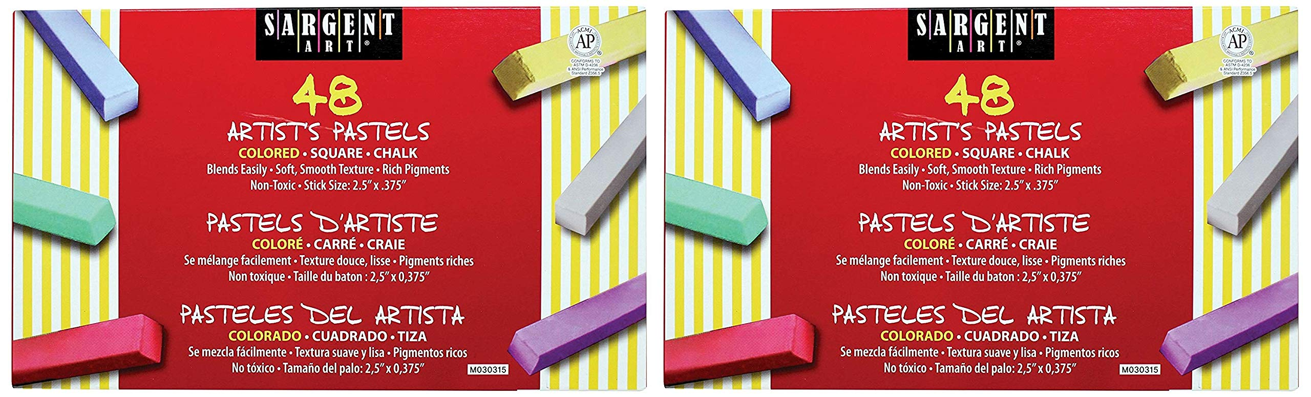 Sargent Art 22-4148 Colored Square Chalk Pastels (2 X Pack of 48)