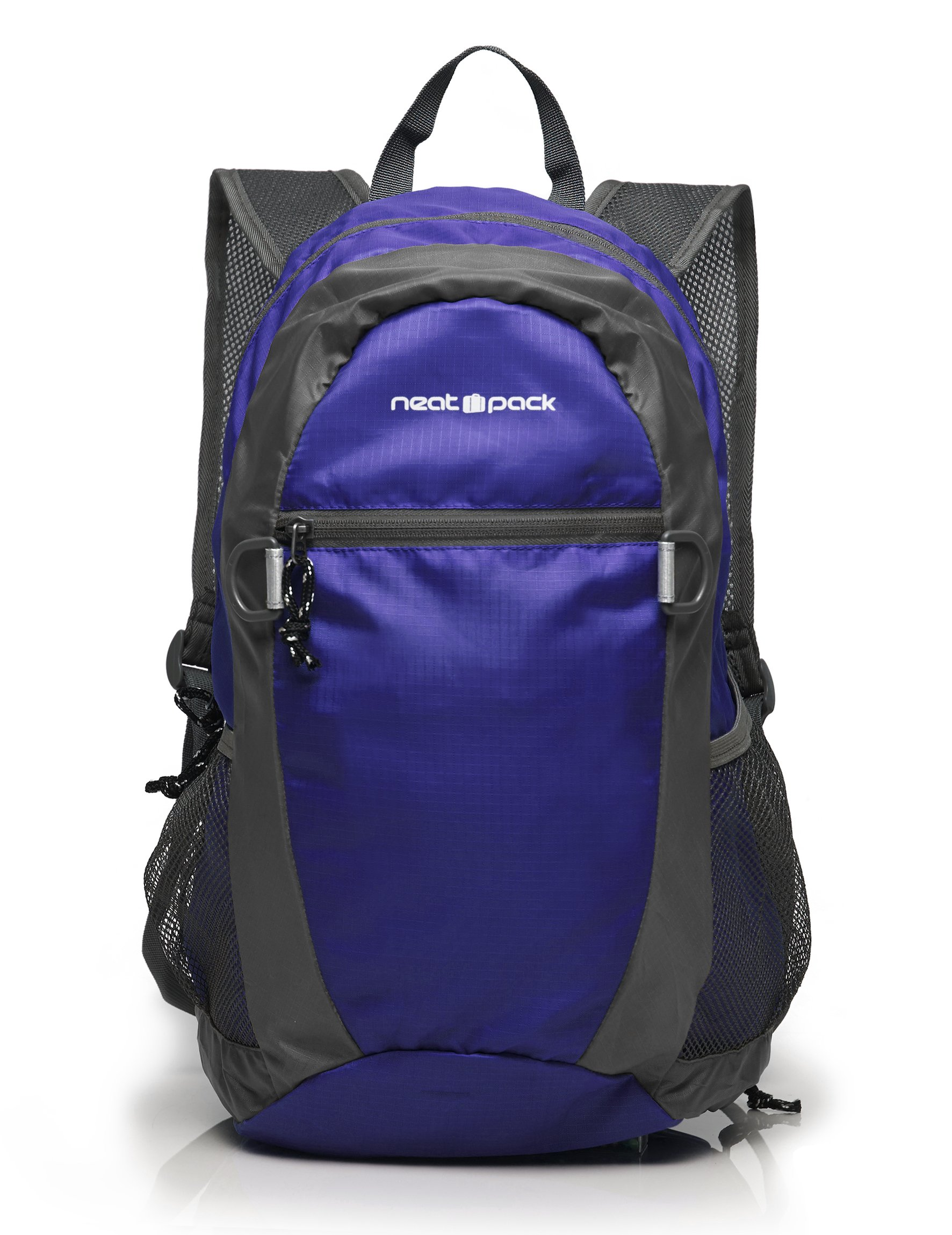 NeatPack Durable, Foldable Nylon Backpack/Daypack with Security Zippers, 20L (Navy)