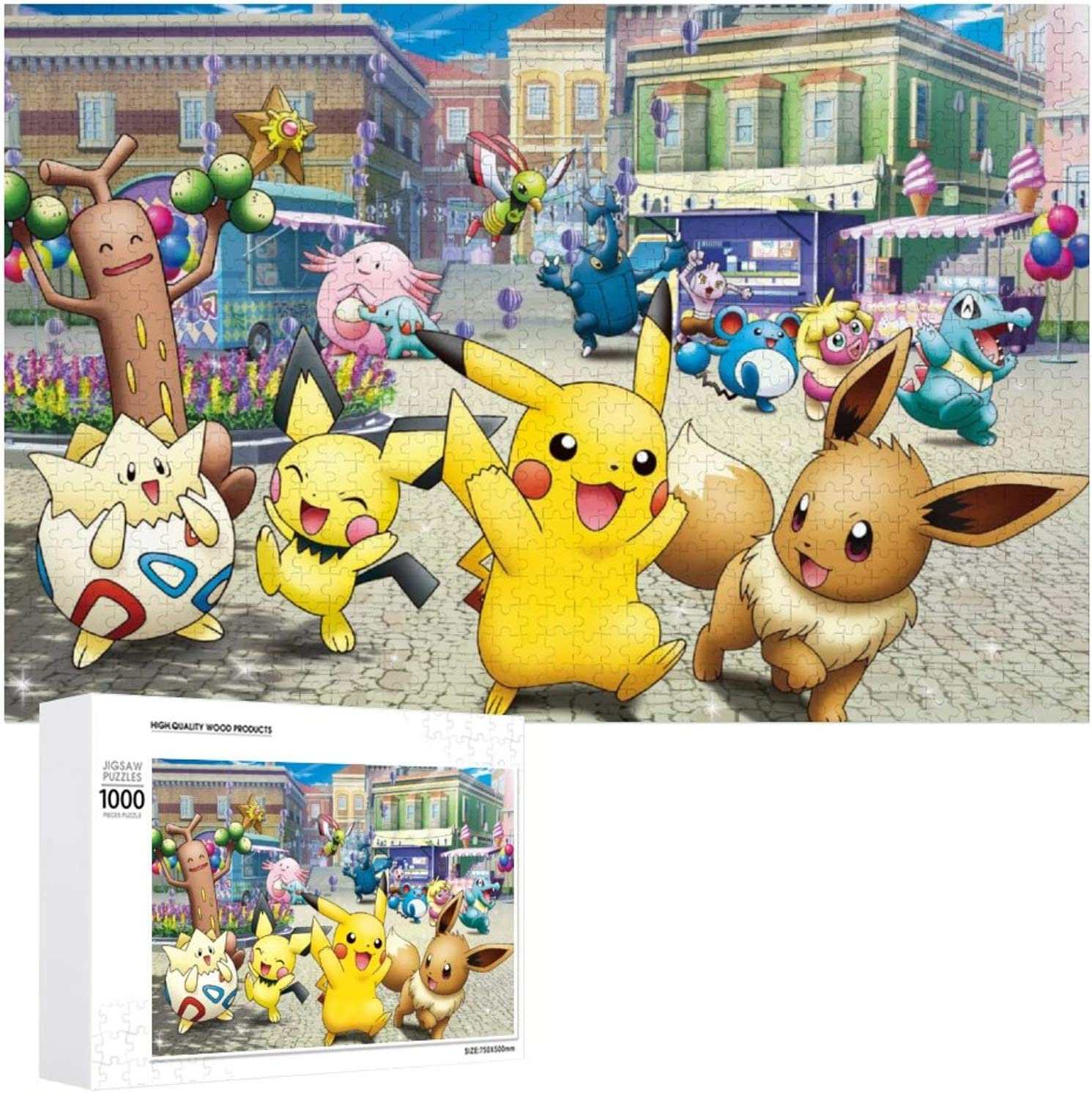 Wooden Jigsaw Puzzles Difficult 500/1000 Pieces,Pikachu Pichu Eevee Togepi,Cute Cartoon Anime Game Entertainment DIY Toys Creative Gift Home Decor for Adult and Kids,Boys,Girls
